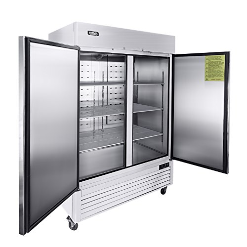 54' Two Section Solid Door Reach-in Commercial Refrigerator - KITMA 49 cu. ft Side by Side Stainless Steel Upright Fridge for Restaurant
