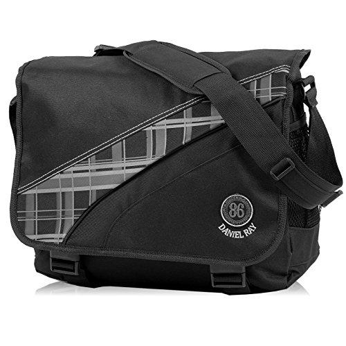 Daniel Ray // AVERNUS Plaid // Messenger Bag Laptoptasche Notebook Tasche - SCHWARZ