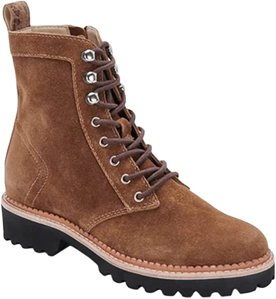Trish Lucia Womens Combat Boots Lace-up Lug Sole Comfortable Mid Calf Anti-slip Suede Zip-up Work Boots