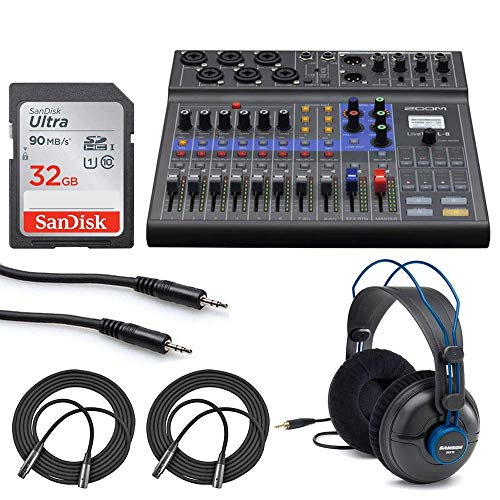Zoom LiveTrak L-8 Portable 8-Channel Digital Mixer and Multitrack Recorder + 32GB Memory Card + Studio Headphones + Stereo Mini Male Cable + Mic Cables - Valued Bundle