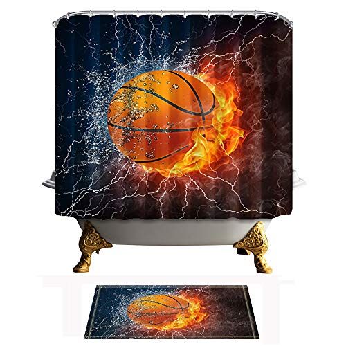 Shocur Sports Shower Curtain Set, Basketball Ball on Fire...