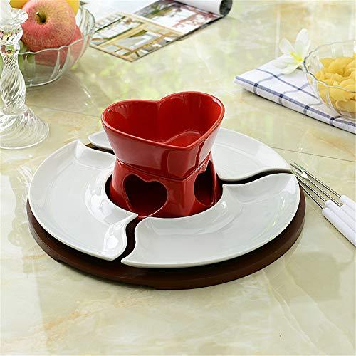LJW hart gevormde keramische fondue fondue kom keramiek glazuur chocolade ijs kaas 11,5 cm x 13,5 cm