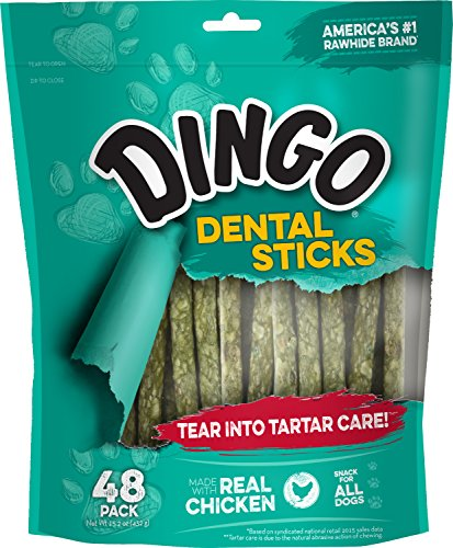 Dingo Tartar And Breath Dental Sticks For All Dogs, 48-Count