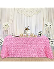 B-COOL Rosette Tablecloth Satin Rosette Tablecloths Pink 60 x102 Inches Table Cover Linens for Christmas Home Dining Room