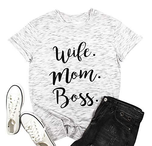 Women Wife Mom Boss T Shirt Women Funny Short Sleeve Top White