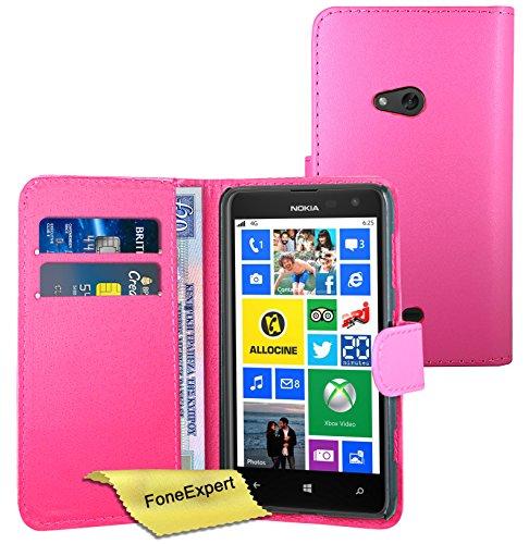 FoneExpert® Wallet Hülle Flip Cover Hüllen Etui Ledertasche Lederhülle Premium Schutzhülle für Nokia Lumia 625 + Bildschirmschutzfolie (Rosa)