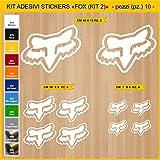Pimastickerslab Pegatinas Adhesivos Fox - Kit 2-10 Piezas- para Motos, Motocicletas. Cod.0788 (010 Bianco)