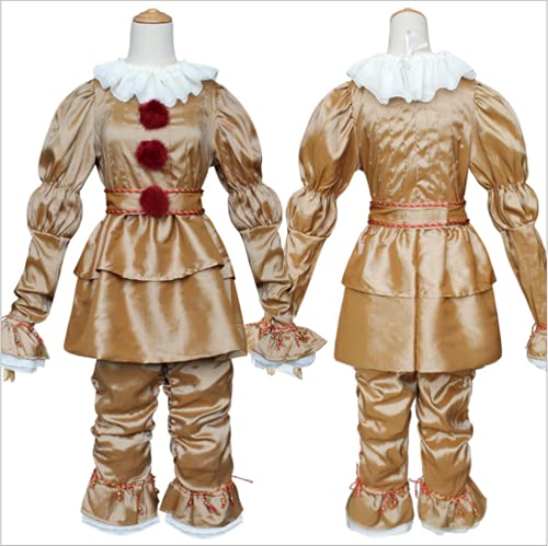 Clowns Costume for Adults Cosplay suit Pennywise cosplay Halloween Costume Pennywise Clownss Full Set Stephenking (Gold, M)
