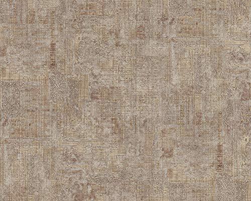 Pleister-look behang EDEM 9093-16 vliesbehang hardvinyl warmdruk in reliëf gestempeld in shabby chic stijl glimmend beige bruin zilver 10,65 m2