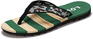 QinMei Zhou Slippers for Men Flip-Flops Casual Slip On Style PU Leather Contracted Flexible Outsole Multicolors (Color : Green, Size : 6.5 UK)