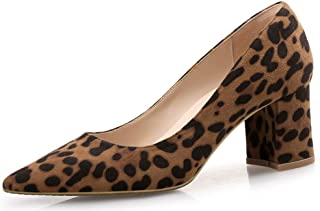 Mofri Women's Classic Pointed Toe Pumps Medium Block Heels Slip on Dress Shoes