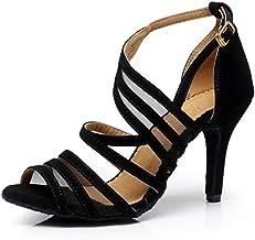 """Dress First Ballroom Dance Shoes Women 2.3"""" Dancing High Heel Salsa Shoe Latin Sandal Pumps"""