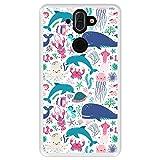 Hapdey Funda Transparente para [ Nokia 8 Sirocco ] diseño [ Animales subacuáticos, Algas y corales ] Carcasa Silicona Flexible TPU