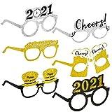 HOWAF 18 Piezas Marco de Gafas de Año Nuevo Gafas photocall 2021 Gafas Divertidas Disfraces Accesorio de Fiesta decoración año Nuevo 2021 Nochevieja para niños y Adultos