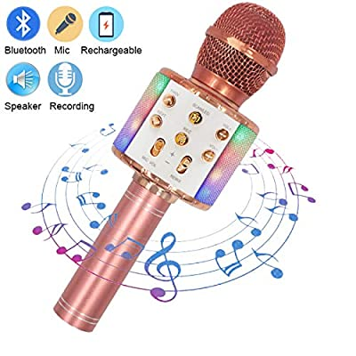 Upworld Wireless Bluetooth Karaoke Microphone with LED Lights, 4 in 1 Portable Handheld Karaoke KTV Player Speaker for iPhone Android & Pc Devices, Christmas Birthday Gift for Kids, Party(Rose Gold)