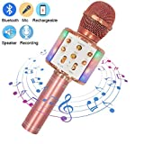Upworld Wireless Bluetooth Karaoke Microphone with LED Lights, 4 in 1 Portable Handheld