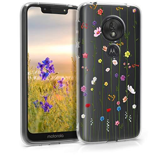 kwmobile Hülle kompatibel mit Motorola Moto G7 Play (EU-Version) - Hülle Silikon transparent Wildblumen Ranke Mehrfarbig Transparent