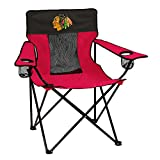 Logo Brands NHL Chicago Blackhawks Folding Elite Chair with Mesh Back and Carry Bag