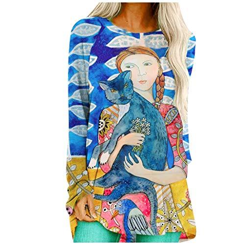 IHEHUA Damen Loose Gedruckt Casual Pullover Sweatshirt Rundhalsausschnitt Langarm...
