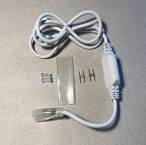 RKN0015NS - Kit striscia neon - Cavo Raddrizzatore Corrente per Striscia LED Neon Bifacciale Flessibile senza spina IP44 con 2 spinotti, 1 guaia e 1 tappo