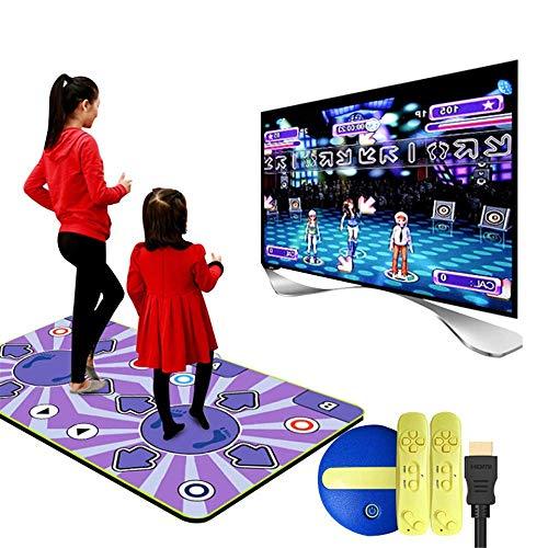 Doble inalámbrica Dance Mat, resistente al desgaste plegable cojín de la danza Los niños Dance Revolution Mat Musical TV de alta definición ordenador de doble uso operativo, 164x93CM - Una alfombra de