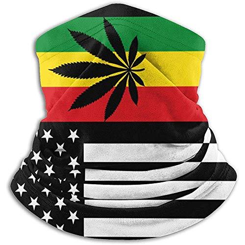 Gwrix USA Cannabis Rasta Flag nekwarmer Gamas, bivakmuts, skimasker, koud weer, gezichtsmasker, winter hoed, hoofddeksel, voor mannen en vrouwen, zwart