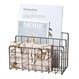 YiePhiot Desktop Mail Organizer File Organizer Metal Wire Mail Sorter Letter Organizer Magazine Rack for Letters, Mails, Books, Postcards, Brochures, Mail Holder (3 Slot, Dark Gray)