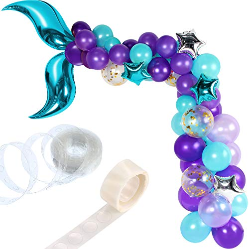 Hsei 88 Pieces Mermaid Tail Balloon Garland Set Mermaid Tail Balloons Arch with 16ft Balloon Strip Tape for Under the Sea Mermaid Birthday Party Decoration (Blue)