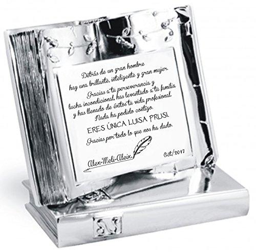 Placa chapa grabada homenaje para agradecimiento jubilación conmemorativa LIBRO personalizada