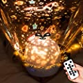 Star Projector Kids Night Light - Music Starry Projector Ceiling Adults with Bluetooth Timer,360 Rotation Starry Sky Projector Christmas Starry Light Projector for Girls - Remote (6 Set of Films)