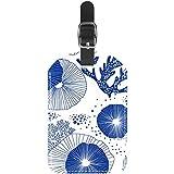 TIZORAX Etiquetas para maleta de viaje de piel de corales azules y alga