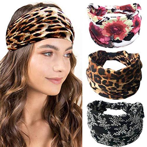 IYOU Fashion Hoofdbanden Luipaard Print Hoofd Wraps Katoen Brede Haarbanden Sport Stretchy Hoofd Sjaal voor Vrouwen en Meisjes (Pack van 3)