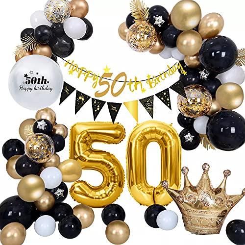 AcnA 50 Decorazioni Compleanno,Palloncini 50 Anni Compleanno Donna Uomo,Oro e Nero Palloncini,Buon Compleanno Banner,Palloncini 50 Anni Compleanno Decorazioni Festa,Palloncino Numero 50 Riutilizzabile