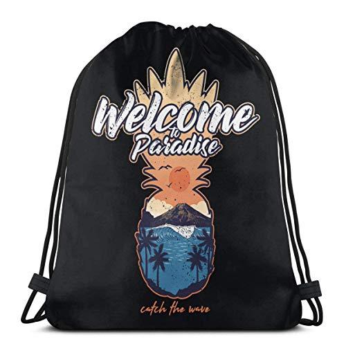 QUEMIN Willkommen im Paradies Rucksack Kordelzug Taschen für Beach Sport Gym Travel Yoga Camping 14,2 x 16,9 Zoll / 36 x 43 cm
