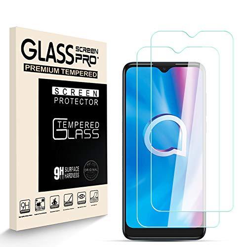 HJX Panzerglas Schutzfolie für Alcatel 1S 2020, 9H-Festigkeit Tempered Glass, Anti-Kratzer, Einfache Installation, Anti-Fingerabdruck Bildschirmschutzfolie für Alcatel 1S 2020 [2 Stück]