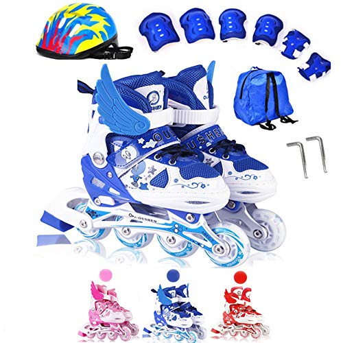 Inline Skates Kinder Verstellbar Beleuchtung mit Inliner Protektoren Outdoor Ausrüstung Roller Skates Mädchen Jungen 31-42 Geburtstagsgeschenk für Beste FreundinL