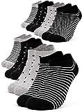 Occulto 8 pares de Calcetines para Mujer | Calcetines para Zapatos de Verano para Mujer | Calcetines cortos de Algodón para Mujer 35-38 Negro