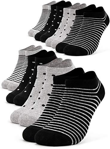Occulto 8 Paar Damen Sneakersocken Füßlinge mehrfarbig mit Streifen und Punkten 35-38, Schwarz