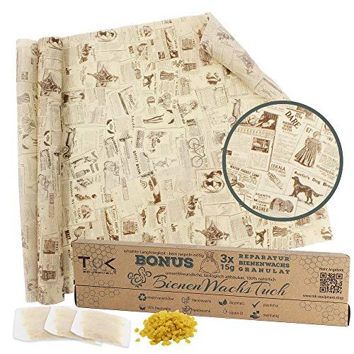 TOK® Bienenwachstuch XL Rolle, Natur Bienenwachs Rolle, wiederverwendbar, waschbar - Beeswax Wrap, Wachspapier inkl. 3 x 15g Reparaturwachs & Schnittmuster (Zeitung)
