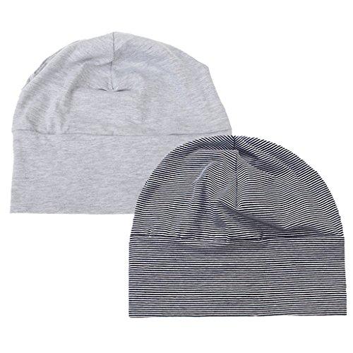 2er Erwachsene Unisex Kappe Baumwolle Nachtschlaf Schlafhaube Schlafmütze Nachtmütze Nachtkappe - Grau + SchwarzWeiß, M