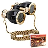 HQRP Opera Glasses Antique Style with Necklace Chain w/Crystal Clear Optic (CCO)