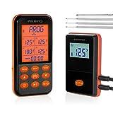 Inkbird IRF-4S Thermometre Cuisine Barbecue Thermometre Radio sans Fil avec Sonde,Thermomètre Exterieur Signal RF 300M Batterie Rechargeable 1000mAh pour Barbecue Electrique Plancha(IRF-4S+4 Sondes)