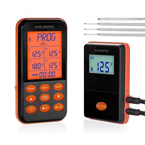 Inkbird Grillthermometer Funk IRF-4S mit 4 Messfühlern, IPX5 Wasserdichtes Grillthermometer Radio mit Beleuchtetes Display, Bratenthermometer Funk Fleischthermometer für BBQ, Ofen und Grills