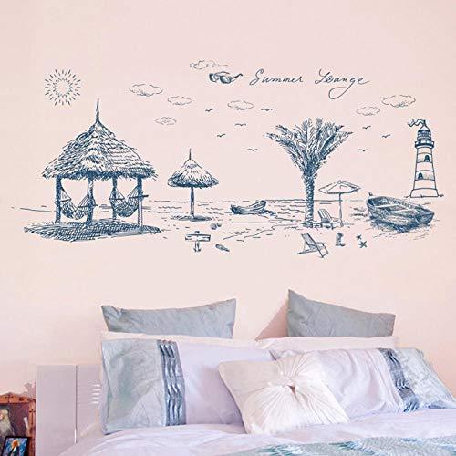 Adhesivos decorativos de verano para la playa, para el hogar, salón, dormitorio, cocina, habitación de bebé, pegatinas para pared, bricolaje, papel pintado