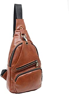 Vacally Fashion Retro Small Leather Chest Bag Outdoor Leisure Men's Small Backpack Korean Version of Ultra Light Portable Men's Bag