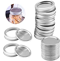 【Excellent Sealing】The metal airtight lid is lined with BPA-free plastisol for a tight seal that keeps food fresh and extends its shelf-life. 【Split Design】Easy to open, The Ring can be reused if used properly. (Lids are for for single use only) 【Pac...