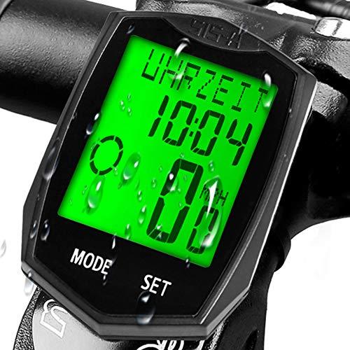 KASTEWILL Velocimetro Bicicleta Inalambrico Ciclocomputador, Impermeable, odómetro para Bicicleta, Despertador automático, 24 Funciones, 5 Idiomas, odómetro con retroiluminación LCD