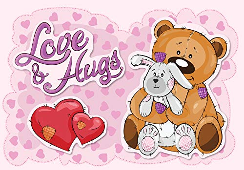 DekoShop Fototapete Vlies Wanddeko Kinderzimmer Kinder - Mädchen Jungen Tiere Teddybär Moderne Wanddekoration 12801VEXL 208cm x 146cm
