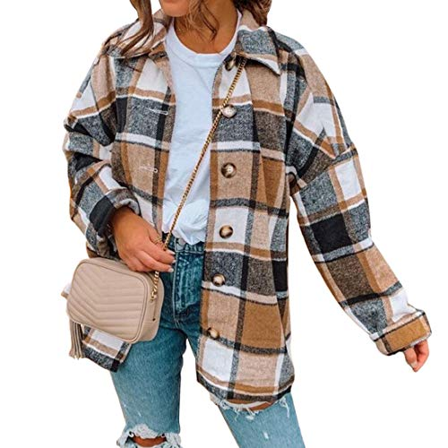 MoneRffi Hemdjacke Damen Karierte Jacke Bluse Holzfällerhemd Karierte Hemd Langarm Loose Bluse Kariert Mantel Mode Boyfreind Oversize Jacke Mädchen(braun ,S)