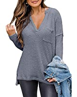 Trendy Queen Women's Off Shoulder Long Sleeve Knit Pullover Sweaters V Neck Loose Oversized Tops with Pocket Grey